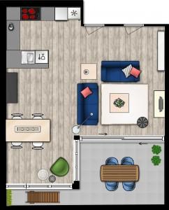 2D-plattegrond woonkamer